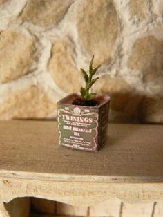 Basil Plant in a tin tea Dollhouse Miniature by MiniEdenTienda, €6.00