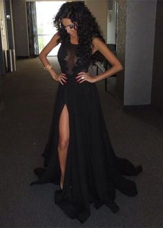 2016 Black Long Prom Dresses