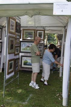Viewing Art at booth 4