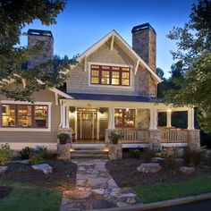 Exterior Design Ideas, Pictures, Remodels and Decor art crafts, stone paths, home exteriors, craftsman style, corner fireplaces, dream houses, wrap around porches, craftsman homes, front porches