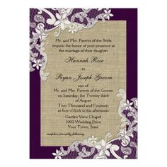Vintage Country Lace Design and Burlap Purple Invitations #wedding #invitations