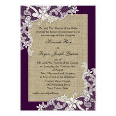 Vintage Country Lace Design and Burlap Purple Invitations #wedding #invitations