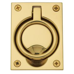 Baldwin 0395 2-1/2 Inch x 3-5/16 Inch Flush Cabinet Pull Non-Lacquered Brass Pocket Door Lock Flush Pull Flush