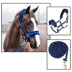 BASEL PLUSH HALTER AND LEAD SET... $19.95  Halter with silver horse webbing at nose, cheek and neck pieces. Soft synthetic fur lining at nose and neck. Comes with a matching lead. Just spray or rinse off mud or dirt!   In-Stock Colors: DARK BLUE, OMBRE DARK BLUE, CHOCOLATE BROWN, BLACK