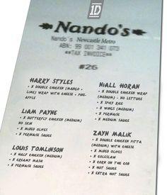 OneDirection Nandos receipt