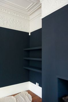 Wall color is Farrow and Ball Off Black and Trim is Shaded White