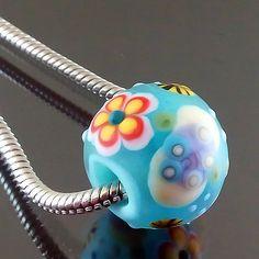 PIKALDA=handmade lampwork 1 glass charm bead big hole flower blossom=SWAMP=SRA