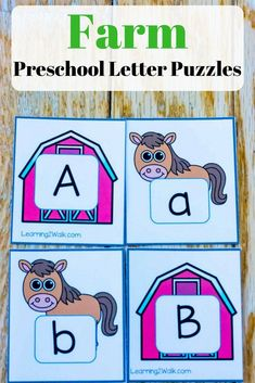 These farm preschool letter puzzles are perfect if you want some hands-on and fun learning for your kids. Just watch them learn their alphabet and enjoy it! Fine Motor Activities For Kids, Spelling Activities, Preschool Letters, Preschool Learning Activities, Free Preschool, Preschool Printables, Alphabet Activities, Writing Activities, Fun Learning