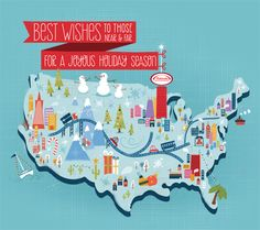 Map Illustration Happy Holidays by Shaw Nielsen