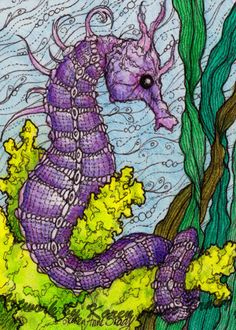 Who doesn't love a lavender seahorse? ACEO Open Edition Art Print titled Seahorse zentangle influenced by Karen Anne Brady Sea Life Art, Sea Art, Seahorse Art, Seahorses, Horse Star, Tangle Art, Doodles Zentangles, Artist Trading Cards, Fish Art