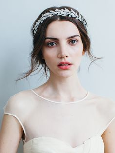 Jennifer Behr's Arielle Crown, a stunning wedding headpiece for brides with long or short hair. Style with our without a veil and wear for both the ceremony and reception. Shop the look at www.jenniferbehr.com