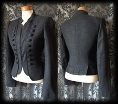 Gothic Black Button Detail LIFE OF SHADOWS Riding Jacket 8 10 Victorian Vintage - £49.00