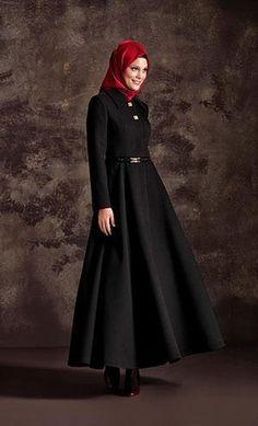 E7098 SİYAH Turkish Hijab Style, Turkish Fashion, Islamic Fashion, Moslem Fashion, Niqab Fashion, Modest Fashion, Fashion Styles, Trench Coats, Romeo Y Julieta