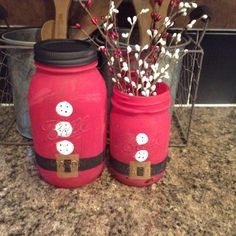 Santa Mason Jars by RobinsRustics on Etsy