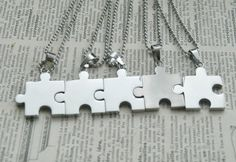 Hand Stamped Puzzle Piece Necklaces Set Of 5- Perfect For Bridesmaids or Best Friends