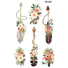 WYUEN 5 Sheets Flower Arrow Temporary Tattoo Waterproof Tattoo Sticker For Women Men Hand Body Art 9.8X6cm AB-003 *** Continue to the product at the image link. (This is an affiliate link) #Makeup