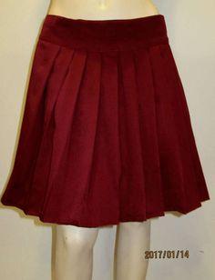 Elastic waistband Solid Maroon Color heavy Pleated Skirt~