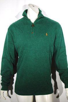 Polo Ralph Lauren pullover french rib mockneck half zip sweater NEW color green  #PoloRalphLauren #12Zip