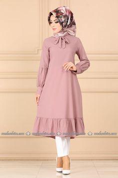 Modaselvim تونيكات Eteği Fırfırlı Tesettür Tunik 7006BM387 Pudra Modest Fashion Hijab, Muslim Fashion, Fashion Dresses, Pakistani Fashion Party Wear, Pakistani Dress Design, Stylish Dresses For Girls, Elegant Dresses For Women, Simple Abaya Designs, Women's Dresses