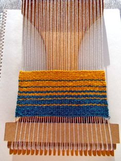 Monica Cataldo, stripes woven on a Lost Pond loom in the Weaving Tapestry on Little Looms online class with Rebecca Mezoff. www.tapestryweaving.com