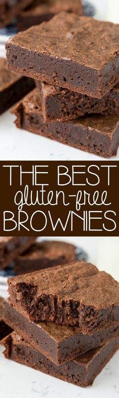 These are the BEST Gluten-Free Brownies!! It's an easy brownie recipe that yields super fudgy brownies! Even if you're not GF, you'll love these.