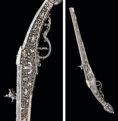 Highly ornate 17th century long wheel-lock pistol.