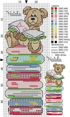 Bear on stack of books cross stitch bookmark