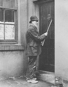 A Knocker-upwas a profession in England and Ireland that started during and lasted well into the Industrial Revolution and at least as late as the 1920s, before alarm clocks were affordable or reliable. A knocker-up's job was to rouse sleeping people so they could get to work on time. (*Gee, 'knock-er-up' means something a whole lot different today. LOL)