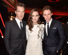 Pin for Later: The Year's Best Award Show Snaps  Keira Knightley was caught in the middle of a hot Brit sandwich — composed of Benedict Cumberbatch and Eddie Redmayne — at the Hollywood Film Awards.