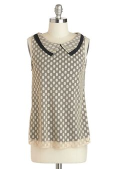 To the Nines Top. When you have to don a more formal ensemble but dont want to slip into a dress, choose this sleeveless top for a unique look. #tan #modcloth