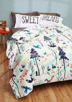 Embrace your love of nature by snuggling up for a woodland dream enveloped in this cozy, cotton duvet cover. Printed with pretty pines, birds, bunnies, and foxes, this blue, orange, and white cover - designed by Sarah Watts exclusively for ModCloth - will bring a touch of the outdoors to your beautiful boudoir.