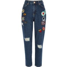 River Island Dark blue wash badge Mom jeans (125 AUD) ❤ liked on Polyvore featuring jeans, ripped jeans, boyfriend fit jeans, destroyed denim jeans, torn boyfriend jeans and blue ripped jeans