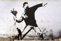 "Banksy's ""Rage, Flower Thrower"" - What You'll Need: A baseball cap, turtleneck, black jeans, and some deli flowers. Banksy, Van Gogh, Rage Art, Powerful Images, Art Plastique, Flower Power, Pop Culture, Moose Art, Halloween Costumes"