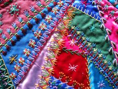 crazy quilt stitches - Google Search