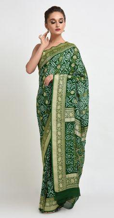 4dbba17b7a Green Bandhani Gharchola Sari from Gujarat   bandhani   Saree, Sari ...
