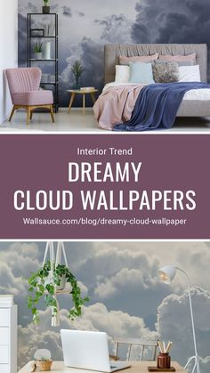 Our cloud print wallpaper collection ticks all the boxes. From the stillness of a spring morning to tempestuous weather brewing in the air, our range of cloud murals will transport you to another time and place. It doesn't matter whether you draw comfort from sunny climes, sombre fogs or an angry storm – there's a dreamy cloud wallpaper to suit every room in your house. Click to discover more from our blog! #wallpaper #homedecor #interiortrends #wallsauce Interior Trend Scenic Wallpaper, Cloud Wallpaper, Print Wallpaper, Summer Wallpaper, Bedroom Wallpaper, Watercolor Clouds, Watercolor Wallpaper, Beautiful Wall, Beautiful Homes