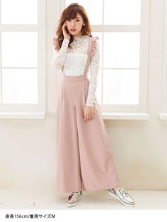 dreamv | Rakuten Global Market: I have pants frills as with wide suspenders elegant high-waisted leg effect tack clear its trend Princess girly cute casual simple shape cover, pink gray Navy black solid/m L LL /! Women's dream vision