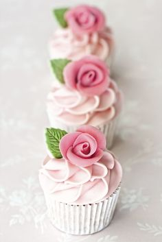 Almond Rose Water Cupcakes -- love these for a rose-themed, beautiful birthday party.