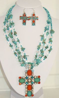 STUNNING! COWGIRL BLING Faux Turquoise & Coral color CROSS - RHINESTONES.   Check my ebay store for some other great cowgirl bling! BAHA RANCH WESTERN WEAR ebay seller id  SOLOEDITION
