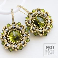 Earrings are the color of fresh foliage with elements of Swarovski. Long Tassel Earrings, Seed Bead Earrings, Beaded Earrings, Beaded Jewelry Designs, Handmade Beaded Jewelry, Tatting Jewelry, Ear Jewelry, Beading Tutorials, Beading Patterns