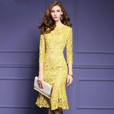 Spring Autumn Mermaid Yellow Lace Dresses Elegant 3/4 Sleeve Knee Length Work Wear Office Midi Dress Plus Size S- 3XL Vestidos #Affiliate