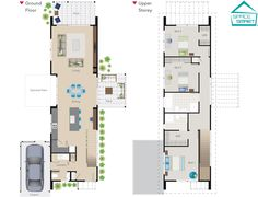 A narrow two story Space Smart house plan. Perfect for modern living on a small narrow section.