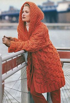 KNITTING PATTERN No 2017 LADY'S CABLED HOODED JACKET COAT in Super Chunky Yarn