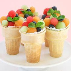 Fruit Salad Cones - Fun for party or picnic. Great idea and a good way to get kids to eat more fruit. Plus a plate saving way to serve a fruit salad~ Dessert Aux Fruits, Good Food, Yummy Food, Fun Food, Yummy Yummy, Delish, Delicious Fruit, Delicious Recipes, Best Fruits
