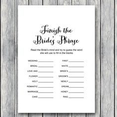 bridal shower game The Swanky Rooster is venturing into the wedding arena. Check out our new printable wedding planner. With over 100 pages, your planning will be complete! Budget Wedding, Wedding Tips, Wedding Events, Wedding Planner, Destination Wedding, Wedding Stuff, Wedding Timeline, Diy Wedding, Dream Wedding