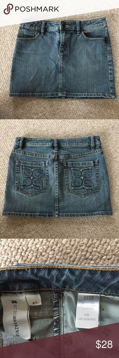 "BCBGMAXAZRIA size 27 mini blue jeans denim skirt Excellent used condition Beautiful blue jean skirt, very short  Size: 27"" waist....(not marked as a size 4, but that would be my guess) Brand: BCBGMAXAZRIA BCBGMaxAzria Skirts Mini"