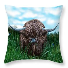 "Scottish Highland Cow Throw Pillow 14"" x 14"""