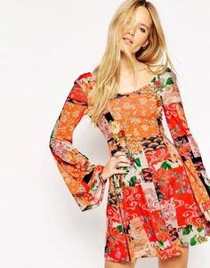 ASOS+70's+Swing+Dress+with+Flared+Sleeves+in+Mixed+Paisley