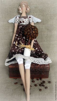 Doll Tilda coffee fairy by mytilda on Etsy Tilda Toy, How To Make Toys, Bear Doll, Sewing Dolls, Little Doll, Fabric Dolls, Rag Dolls, Waldorf Dolls, Hello Dolly