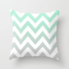 MINT+GRAY+CHEVRON+FADE+Throw+Pillow+by+Natalie+Sales+-+$20.00